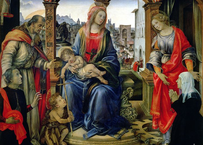 Nerli Greeting Card featuring the painting Madonna And Child by Filippino Lippi