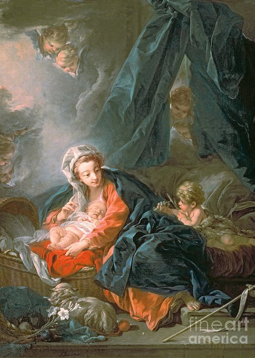 Madonna Greeting Card featuring the painting Madonna And Child by Francois Boucher