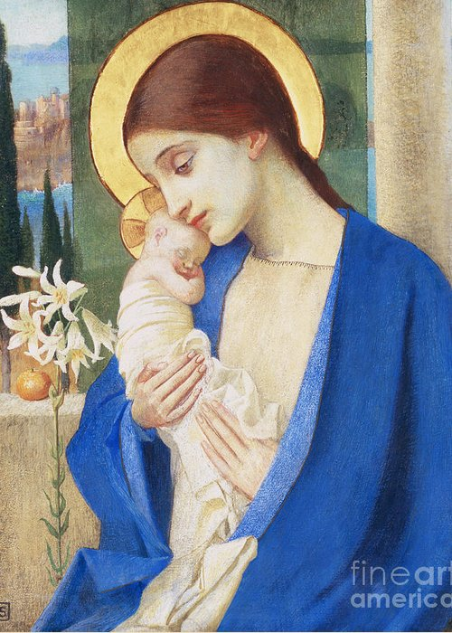 Virgin Mary; Infant Christ; Jesus; Halo Greeting Card featuring the painting Madonna And Child by Marianne Stokes