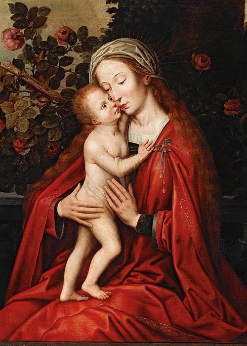 Workshop Of Ambrosius Benson Greeting Card featuring the painting Madonna And Child by Workshop of Ambrosius Benson