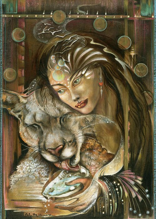 Wildlife Greeting Card featuring the painting Madonna by Blaze Warrender