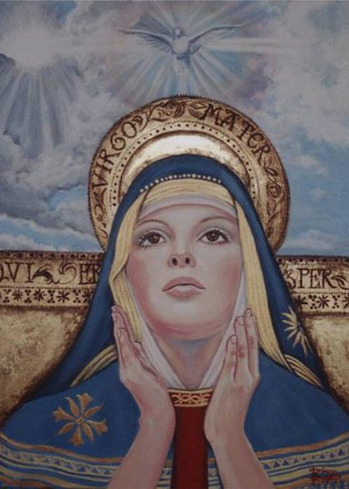 Portrait Greeting Card featuring the painting Madonna by Diann Baggett
