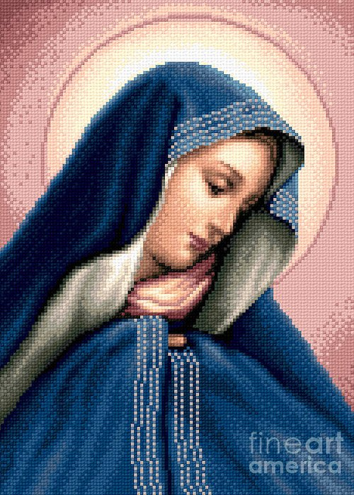 Madonna Dolorosa Greeting Card featuring the tapestry - textile Madonna Dolorosa by Stoyanka Ivanova