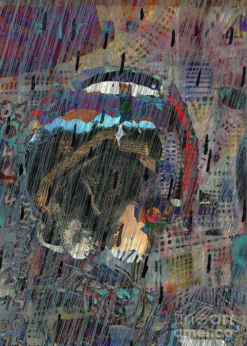 Raiin Greeting Card featuring the digital art Madonna In The Rain by Andy Mercer