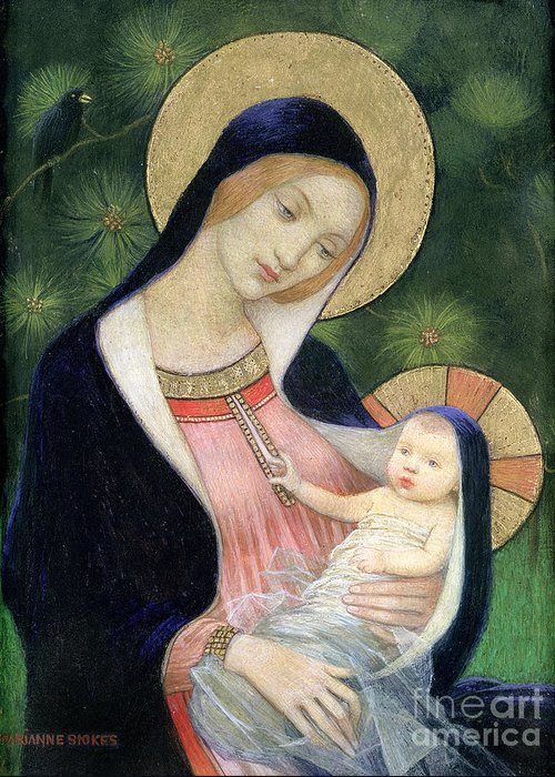Madonna Of The Fir Tree Greeting Cards