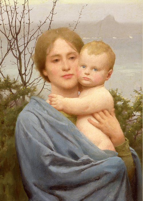 Madonna Greeting Card featuring the painting Madonna Of The Mount by Thomas Cooper Gotch