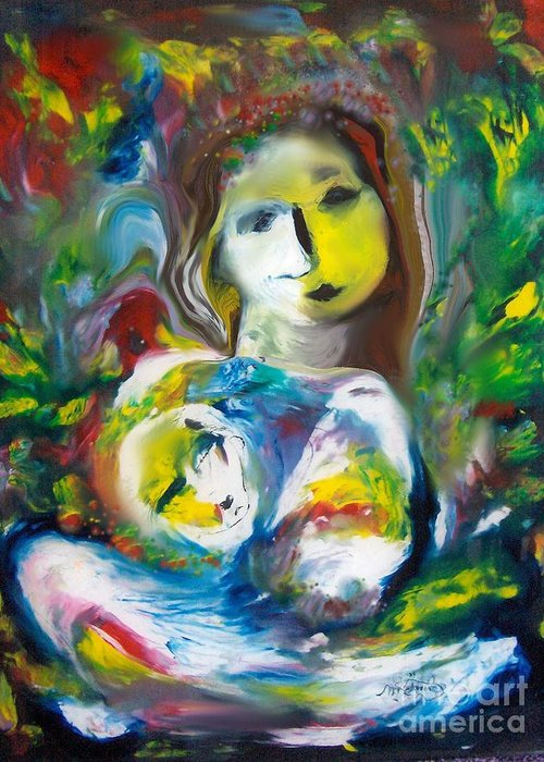 Mother Greeting Card featuring the painting Madonna Or Motherly Love by Michaela Kraemer