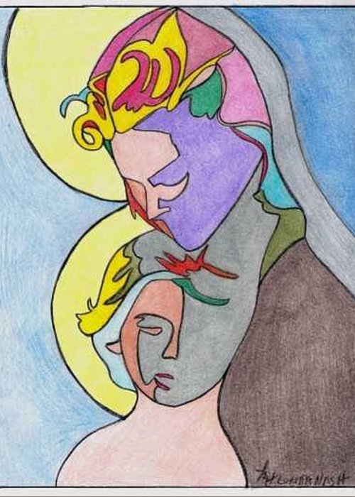 Madonna W/ Child Greeting Card featuring the drawing Madonna With Child by Loretta Nash