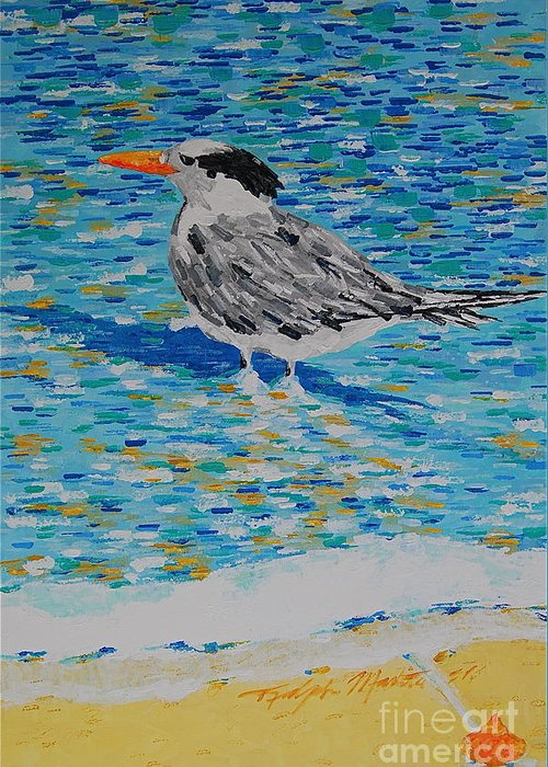 Beach Scene Greeting Card featuring the painting Maestro Of The Beach by Art Mantia