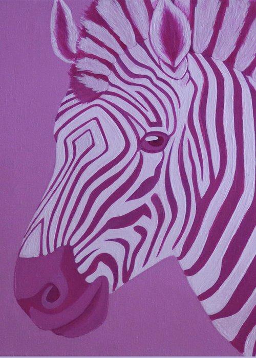 Magenta Zebra Greeting Card