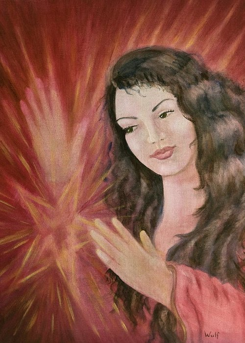 Magic Greeting Card featuring the painting Magic - Morgan Le Fay by Bernadette Wulf