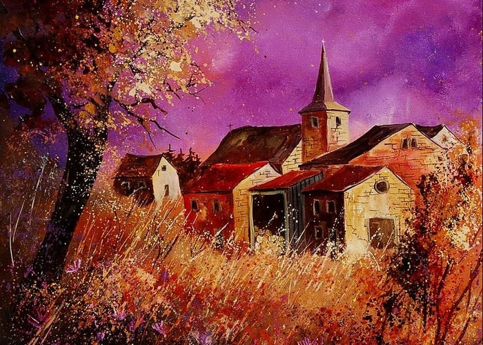 Landscape Greeting Card featuring the painting Magic Autumn by Pol Ledent