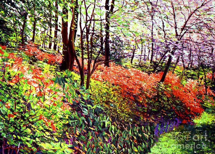 Trees Greeting Card featuring the painting Magic Flower Forest by David Lloyd Glover