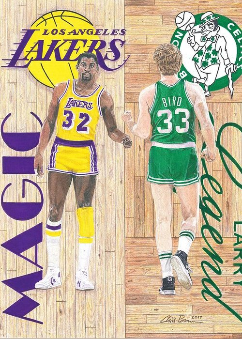 Larry Bird Drawings Greeting Cards