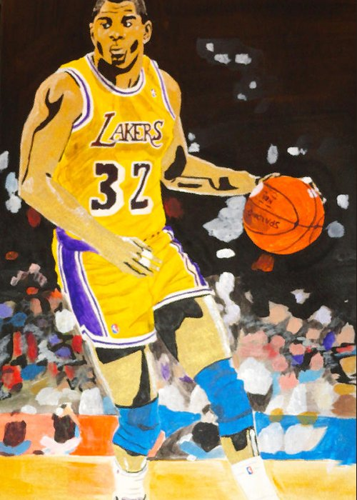 Magic Johnson Greeting Card featuring the painting Magic Johnson by Estelle BRETON-MAYA