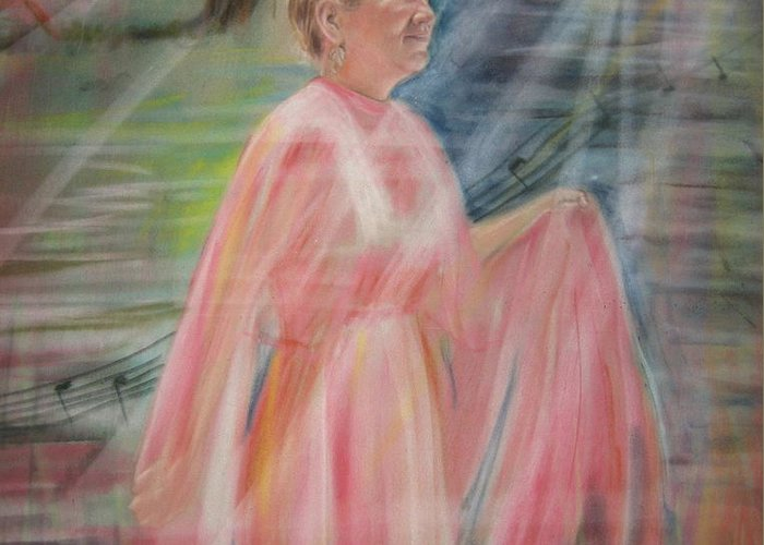 Mother Nature Greeting Card featuring the pastel Magic Mother Nature by Larry Whitler