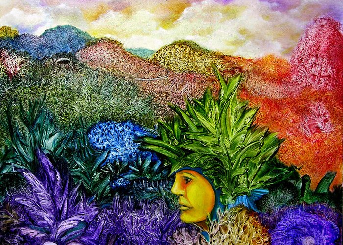 Montain Greeting Card featuring the painting Magic Mushrooms by Fernando Armel