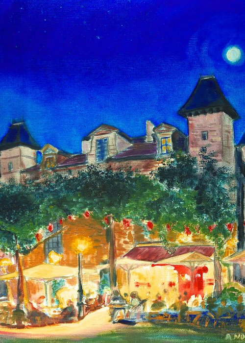Cityscape Greeting Card featuring the painting Magic Night by Aymeric NOA