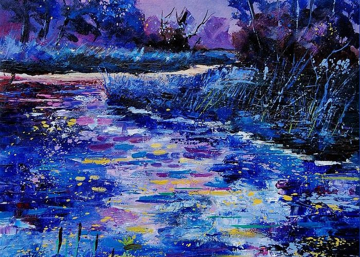 River Greeting Card featuring the painting Magic Pond by Pol Ledent