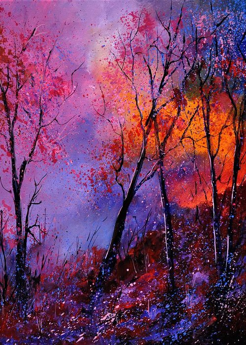 Landscape Greeting Card featuring the painting Magic trees by Pol Ledent