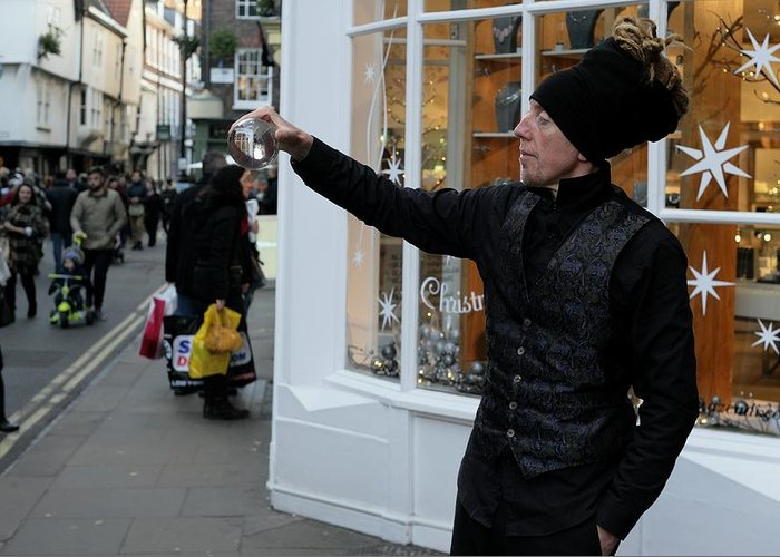 Magic Magical Magician York Street England Shops Shopping Shoppers Festive Glitter Family Entertained Illusions Stage Show Christmas Supernatural Fun Trick Crystal Ball Future Public Community Society Shop Economy Window Decoration Greeting Card featuring the photograph Magical Christmas by Lens Artist