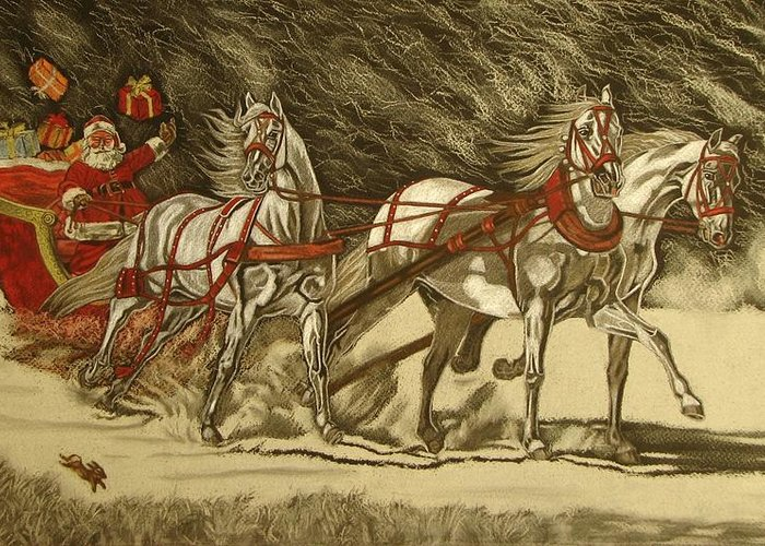 Horse Greeting Card featuring the drawing Magical Christmas by Melita Safran