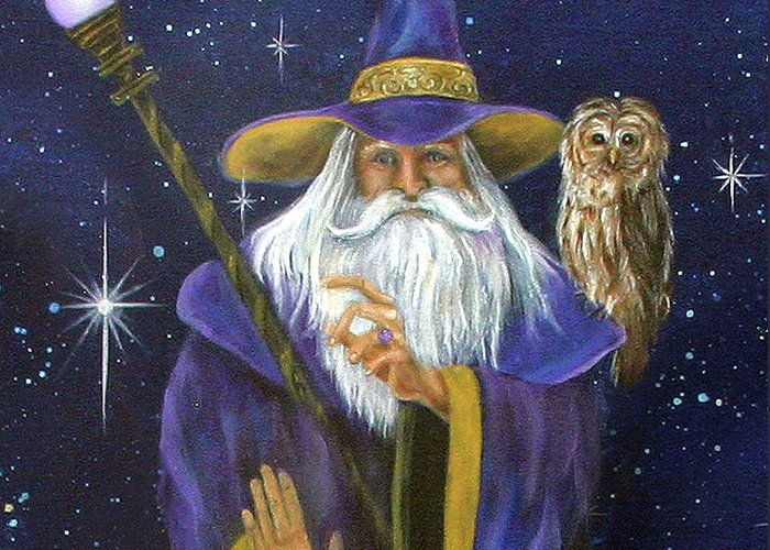 Merlin Greeting Card featuring the painting Magical Merlin by Sundara Fawn