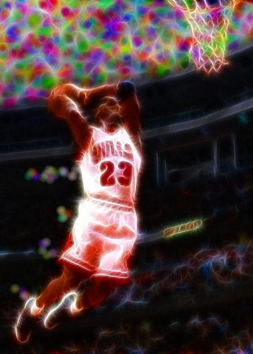 Michael Jordan Greeting Card featuring the painting Magical Michael Jordan White Jersey by Paul Van Scott