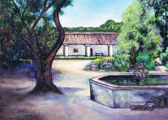 La Purisima Mission Greeting Card featuring the painting Magical Mission by M Schaefer