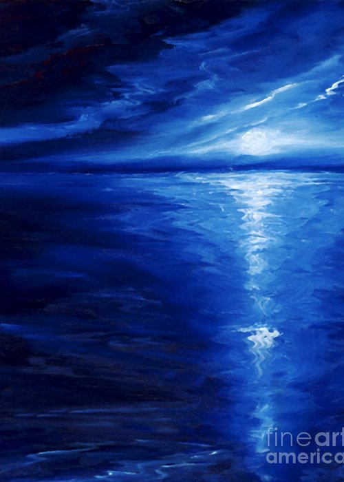 Blue Moon Greeting Card featuring the painting Magical Moonlight by James Christopher Hill