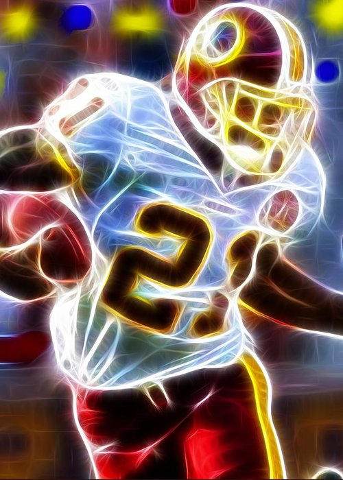 Sean Taylor Greeting Card featuring the painting Magical Sean Taylor by Paul Van Scott