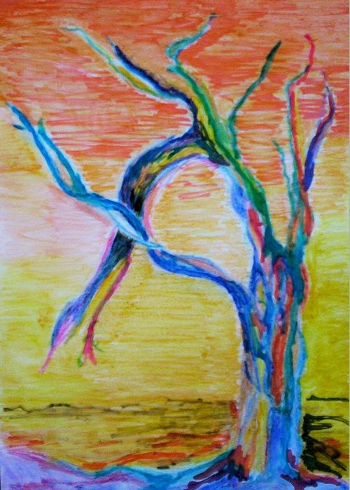 Abstract Painting Greeting Card featuring the painting Magical Tree by Suzanne Udell Levinger