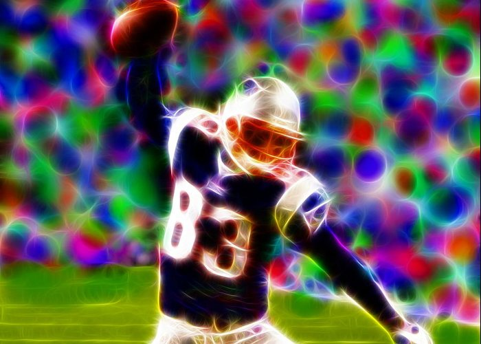 New England Patriots Greeting Card featuring the painting Magical Wes Welker by Paul Van Scott