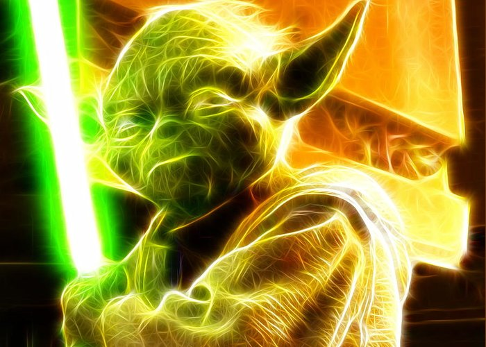 Yoda Greeting Card featuring the painting Magical Yoda by Paul Van Scott