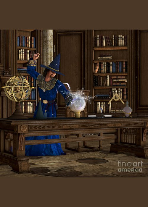 Witch Greeting Card featuring the painting Magician by Corey Ford