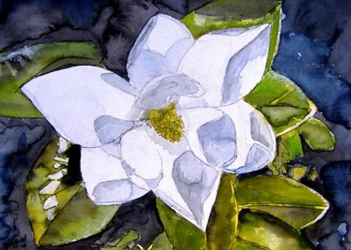 Magnolia Greeting Card featuring the painting Magnolia 2 Flower Art by Derek Mccrea