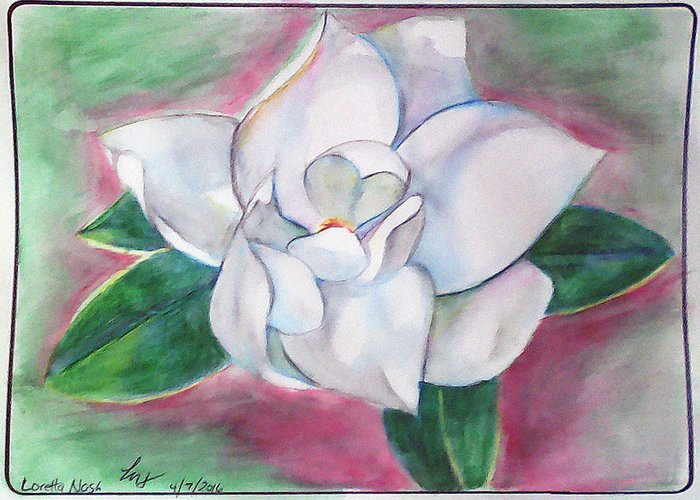 Magnolia Greeting Card featuring the painting Magnolia 2 by Loretta Nash