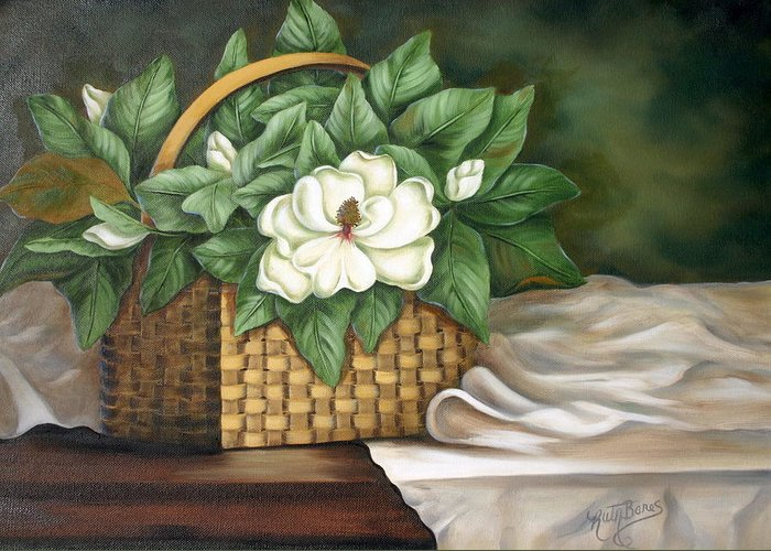 Flower Greeting Card featuring the painting Magnolia Basket by Ruth Bares