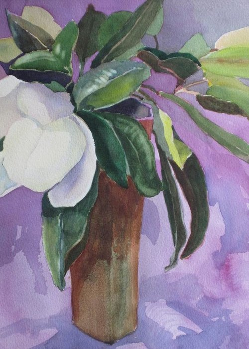 Magnolia Greeting Card featuring the painting Magnolia by Elizabeth Carr