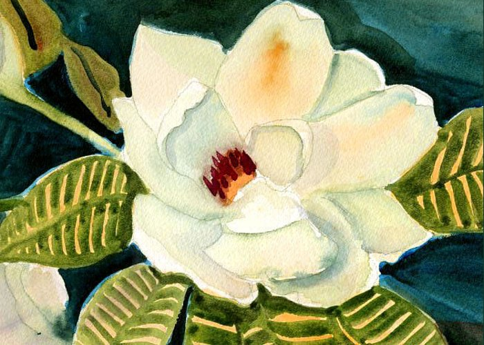 Magnolia Greeting Card featuring the painting Magnolia by Janet Doggett