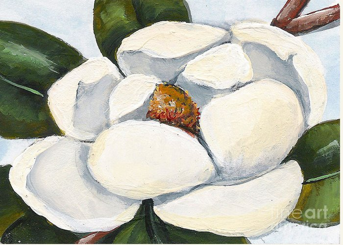 Floral Greeting Card featuring the painting Magnolia On Blue by Elaine Hodges
