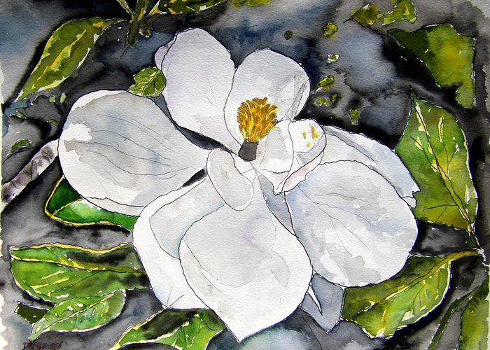 Magnolia Greeting Card featuring the painting Magnolia Tree Flower by Derek Mccrea