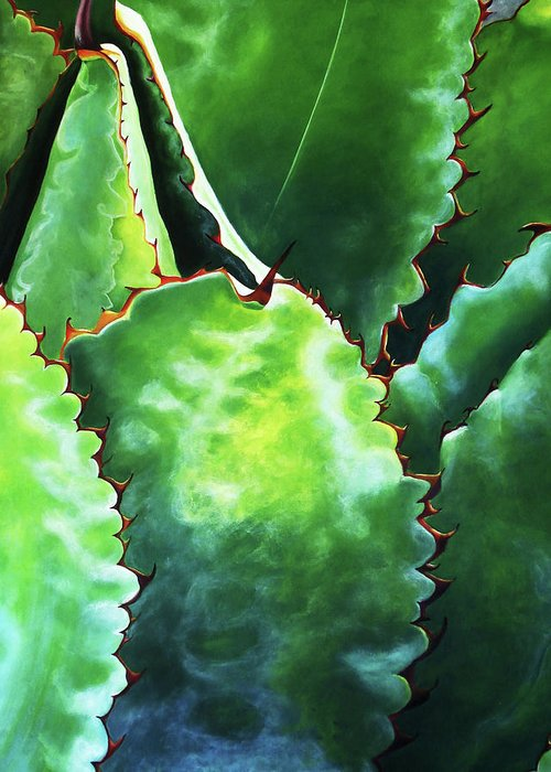 Maguey. Agave Greeting Card featuring the painting Maguey Pulquero by Maribel Garzon