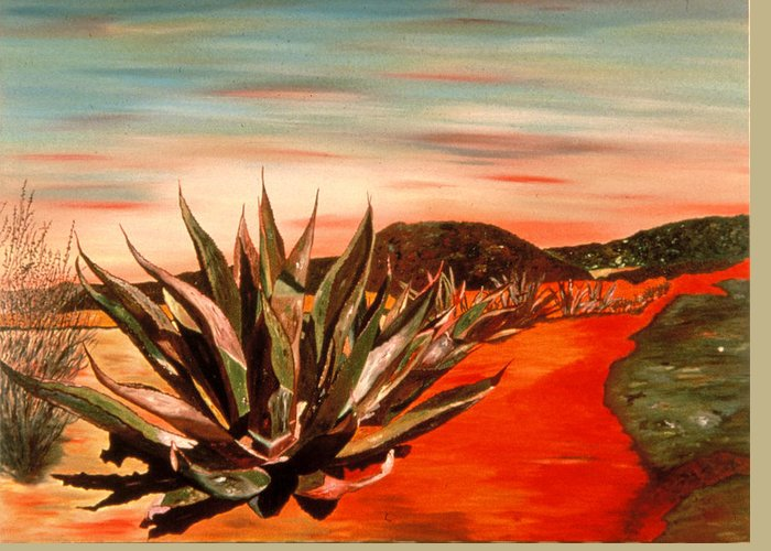 Landscape Greeting Card featuring the painting Magueys At Sunset by Oudi Arroni