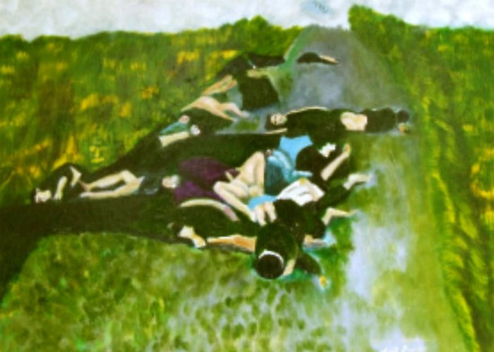 Greeting Card featuring the painting Mai-li Massacre by Neil Trapp