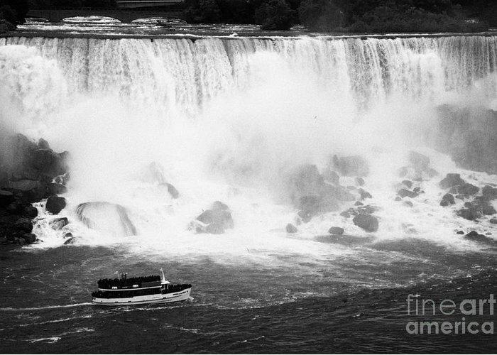 Niagara Falls Greeting Card featuring the photograph Maid Of The Mist Boat Below The American And Bridal Veil Falls Niagara Falls Ontario Canada by Joe Fox