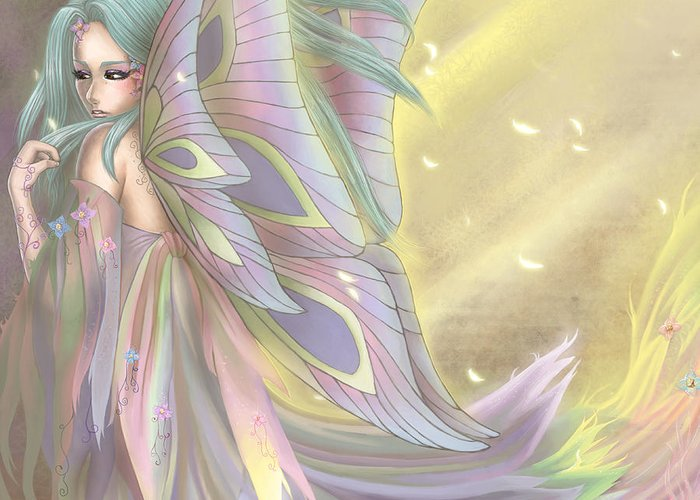 Maiden Earth Fairy Faery Fairies Faeries Fae Kimi Cookie Kimicookie Greeting Card featuring the digital art Maiden Of Earth by KimiCookie Williams