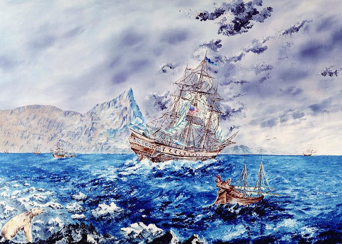 Tall Ships Greeting Card featuring the painting Maiden Voyage by Richard Barham
