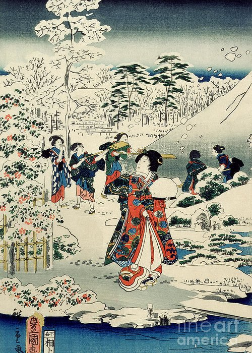 Maids In A Snow-covered Garden Greeting Card featuring the painting Maids In A Snow Covered Garden by Hiroshige
