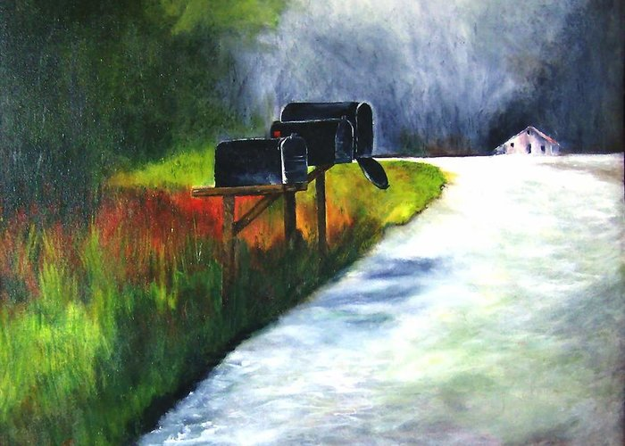 Landscape Greeting Card featuring the painting Mail Call by Julie Lamons